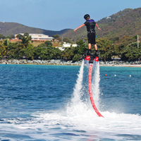 Hovering on a flyboard, Lindberg Bay, ST. Thomas, Water sports on st. thomas