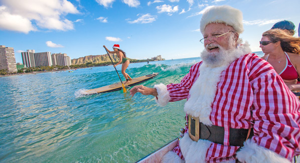 Outrigger Oahu Santa Surfing