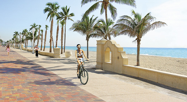 Hollywood Beach Boardwalk Bicyclist Florida