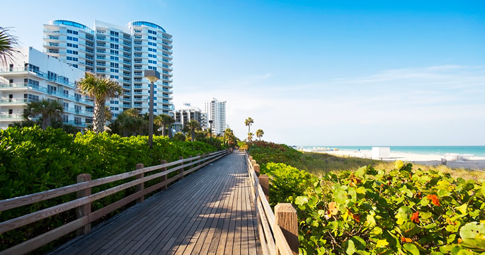 The Northern Stretch Of Miami Beach S Boardwalk Rises Up Over Sea Grape Trees Providing Great Views Atlantic Ocean And Ideal Path For A Vigorous