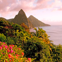St. Lucia Pitons at Sunset